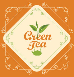 Label for green tea with sprig of tea and teapot vector