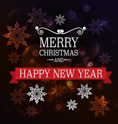 Merry christmas and happy new year xmas card dark vector