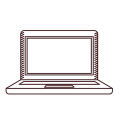 monochrome silhouette of laptop computer vector image vector image