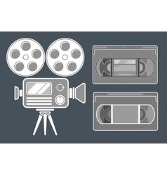 Movie grey icon set on dark background vector