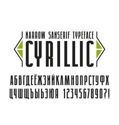 Narrow sanserif cyrillic font vector
