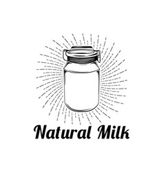natural milk glass label vector image vector image