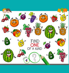 One of a kind activity with fruit characters vector