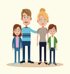 Parents with son daughter together vector