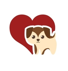Puppy adorable pedigree red heart vector