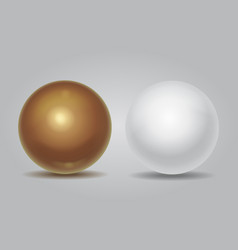 Realistic white sphere and golden ball vector image vector image