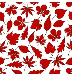 Red autumnal leaves seamless pattern background vector