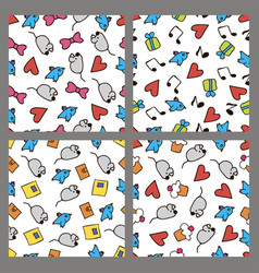 set colored patterns in the style hand drawing vector image