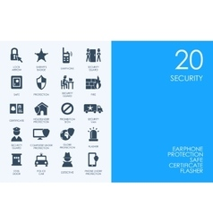Set of blue hamster library security icons vector