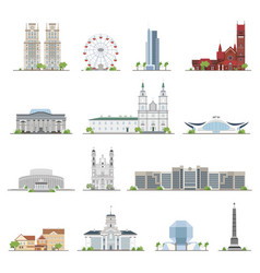 Set of minsk city buildings famous places in flat vector