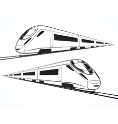 Set of modern high speed train silhouettes vector