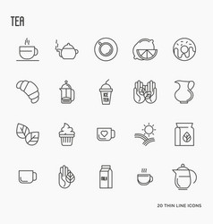 Set of tea and tea drinking related thin line icon vector