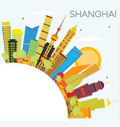 Shanghai skyline with color buildings blue sky vector