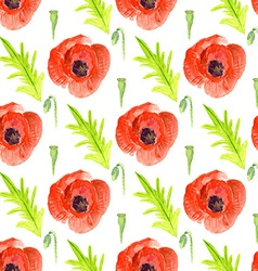 Watercolor poppy in vintage style vector image
