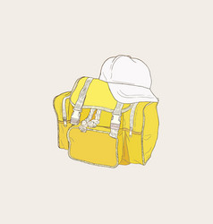 Yellow bag and white cap of camping backpack set vector