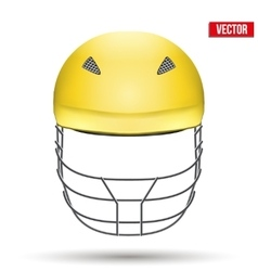 Yellow Cricket Helmet Front View vector image vector image