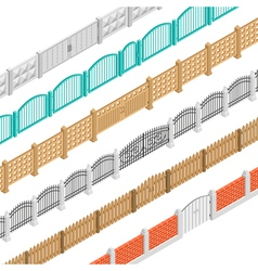 Fences And Gate Isometric Elements vector image