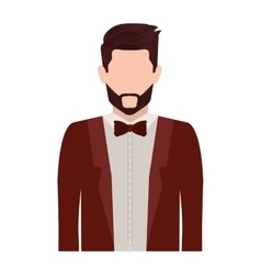 Half body silhouette man with bowtie vector