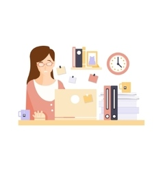 Unhappy woman office worker in office cubicle vector