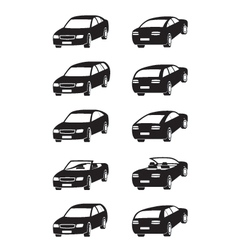 Different cars in perspective vector