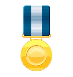 gold medal with blue ribbon icon cartoon style vector image