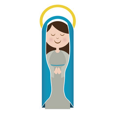 White background of virgin with blue mantle and vector