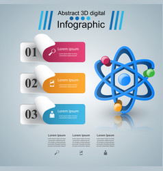 Abstract 3d infographic atom icon vector