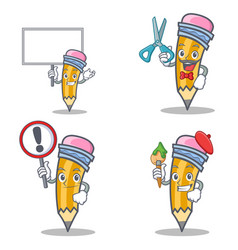 Set of pencil character with bring board barber vector