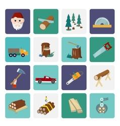 Lumberjack icon set flat vector image