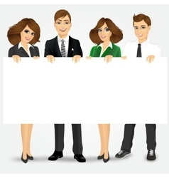 Businesspeople holding a blank billboard vector