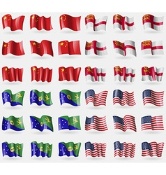 China sark christmas island usa set of 36 flags of vector