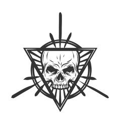 Skull with elements mystic symbol vector