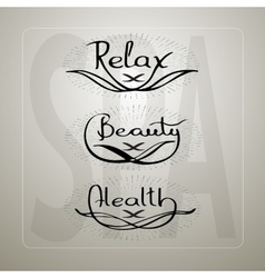 Handwritten words relax beauty health vector
