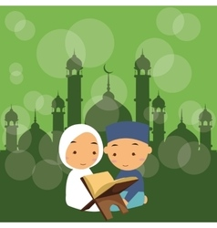 Kids boys and girls read holy quran qoran islam in vector