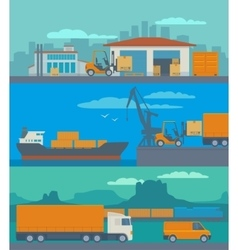 Logistic concept flat banner production process vector