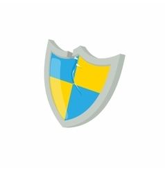 Blue and yellow protection shield icon vector image