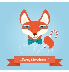 Christmas cute forest fox head logo modern vector image