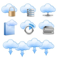 cloud hosting icons vector image vector image
