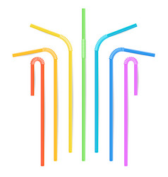 colorful drinking straws different types vector image vector image