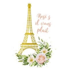eiffel tower romantic paris gold symbol flower vector image