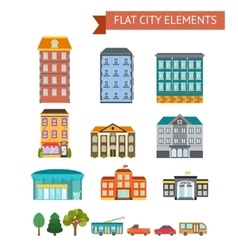 Flat City Elements vector image vector image