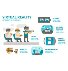 Flat design virtual reality infographic vector image vector image