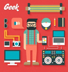 Flat Icons Set of Trendy Geek vector image vector image