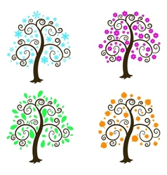 Four seasons a white background vector image vector image