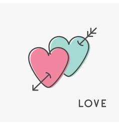 Heart arrow sign symbol thin line icon set pink vector