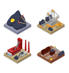 isometric coal industry workers in mine vector image vector image
