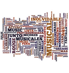 Los mejores musicales text background word cloud vector