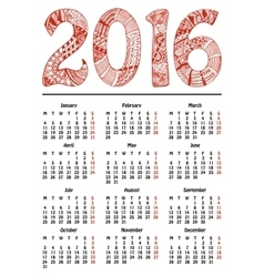 New year calendar 2016 vector