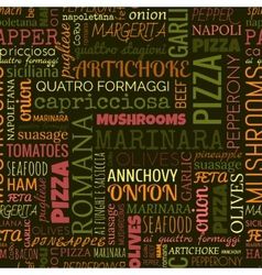 Pizza words tags Seamless pattern vector image