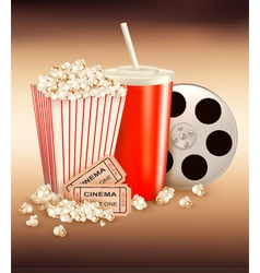 Popcorn box and cola and two tickets vector